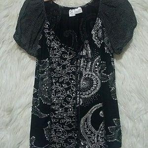 Bila  black and white sequin tunic top